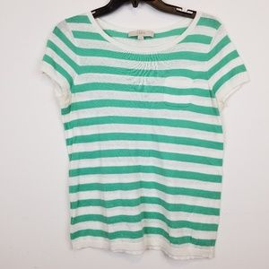 LOFT green/white stripes knit top size medium.